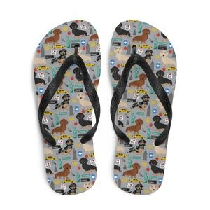 Everyday Dog Mom Shoes - NEW! Dachshunds in NYC Flip Flops • Size 7-8